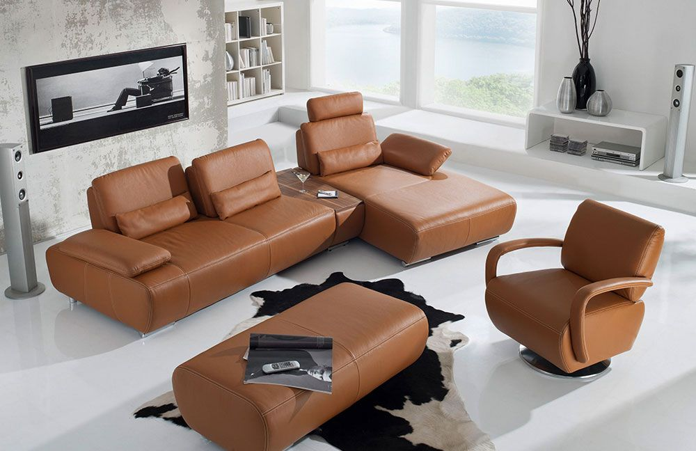 K+W Polstermöbel Miami Ledersofa braun | Möbel Letz - Ihr Online-Shop