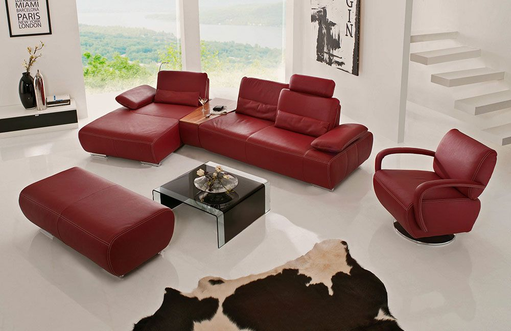 k w polsterm bel miami ledercouch rot m bel letz ihr online shop. Black Bedroom Furniture Sets. Home Design Ideas
