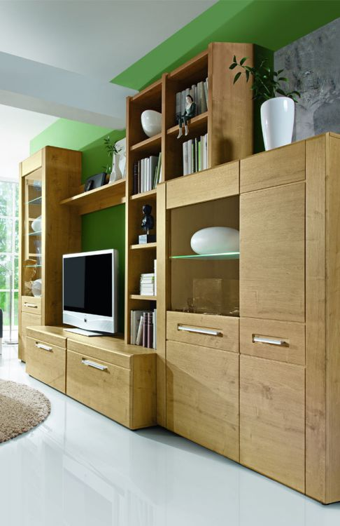 Wohnwand Casada Charlotte : Wohnwand von Casada  Modell Charlotte 1 aus Eiche