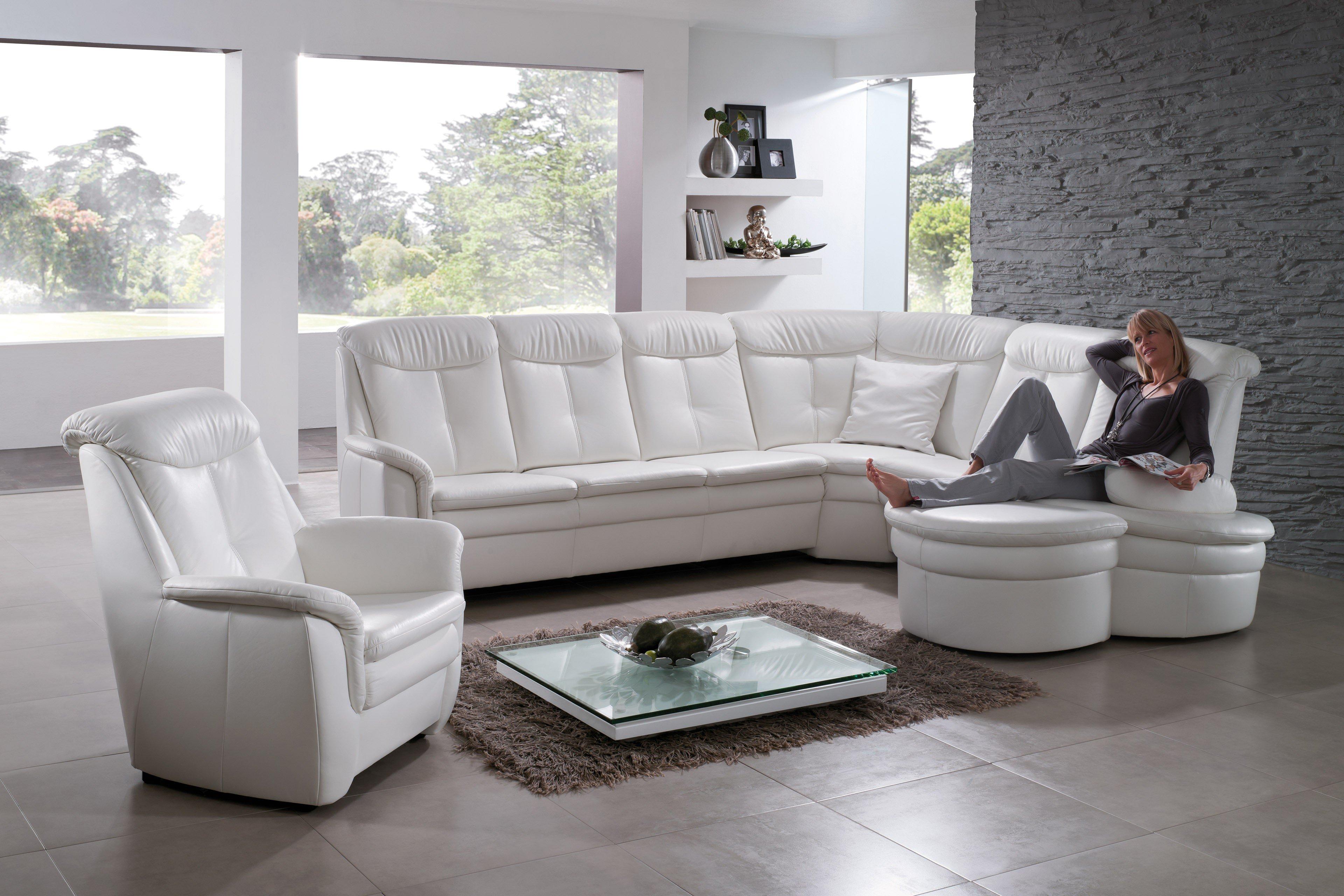 Dietsch Polstermöbel Troja Ledersofa weiß | Möbel Letz - Ihr Online-Shop