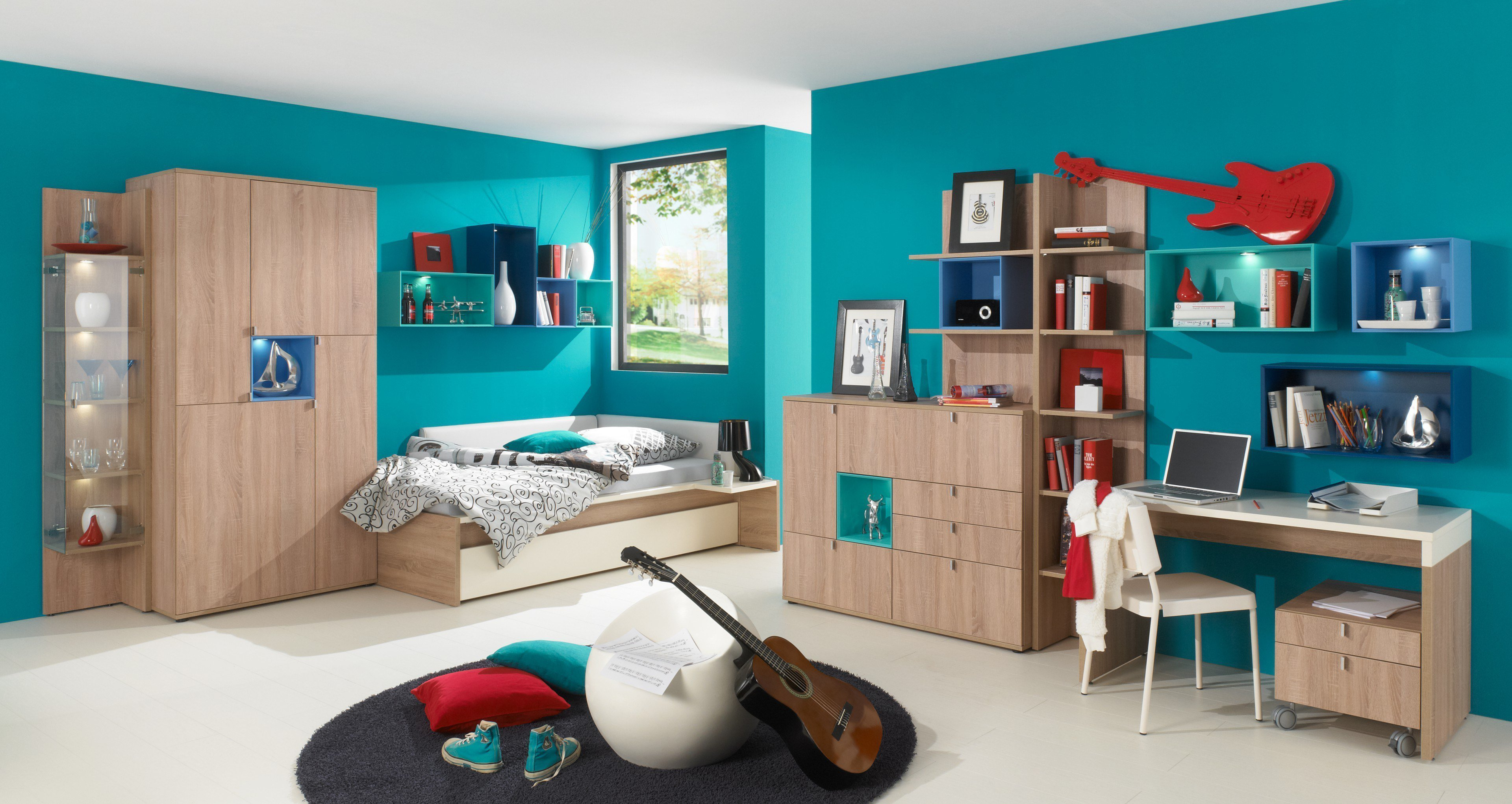 chatroom von rudolf jugendzimmer eiche nachbildung blau. Black Bedroom Furniture Sets. Home Design Ideas