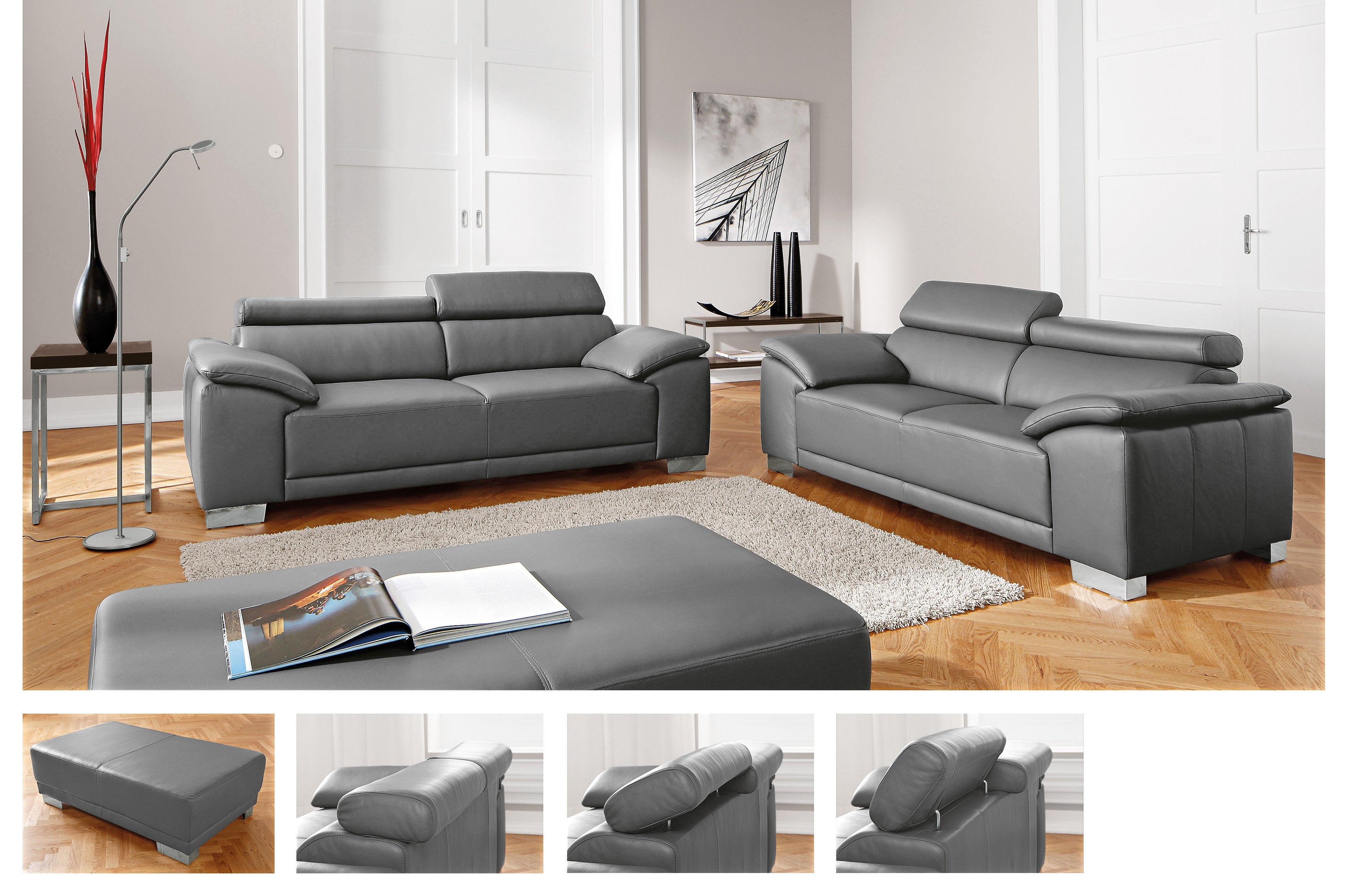 candy amalfi ledersofa in grau m bel letz ihr online shop. Black Bedroom Furniture Sets. Home Design Ideas