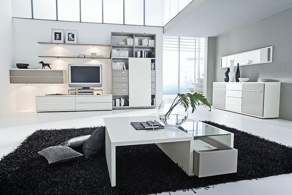 wohnwand grau wei m bel ideen innenarchitektur. Black Bedroom Furniture Sets. Home Design Ideas