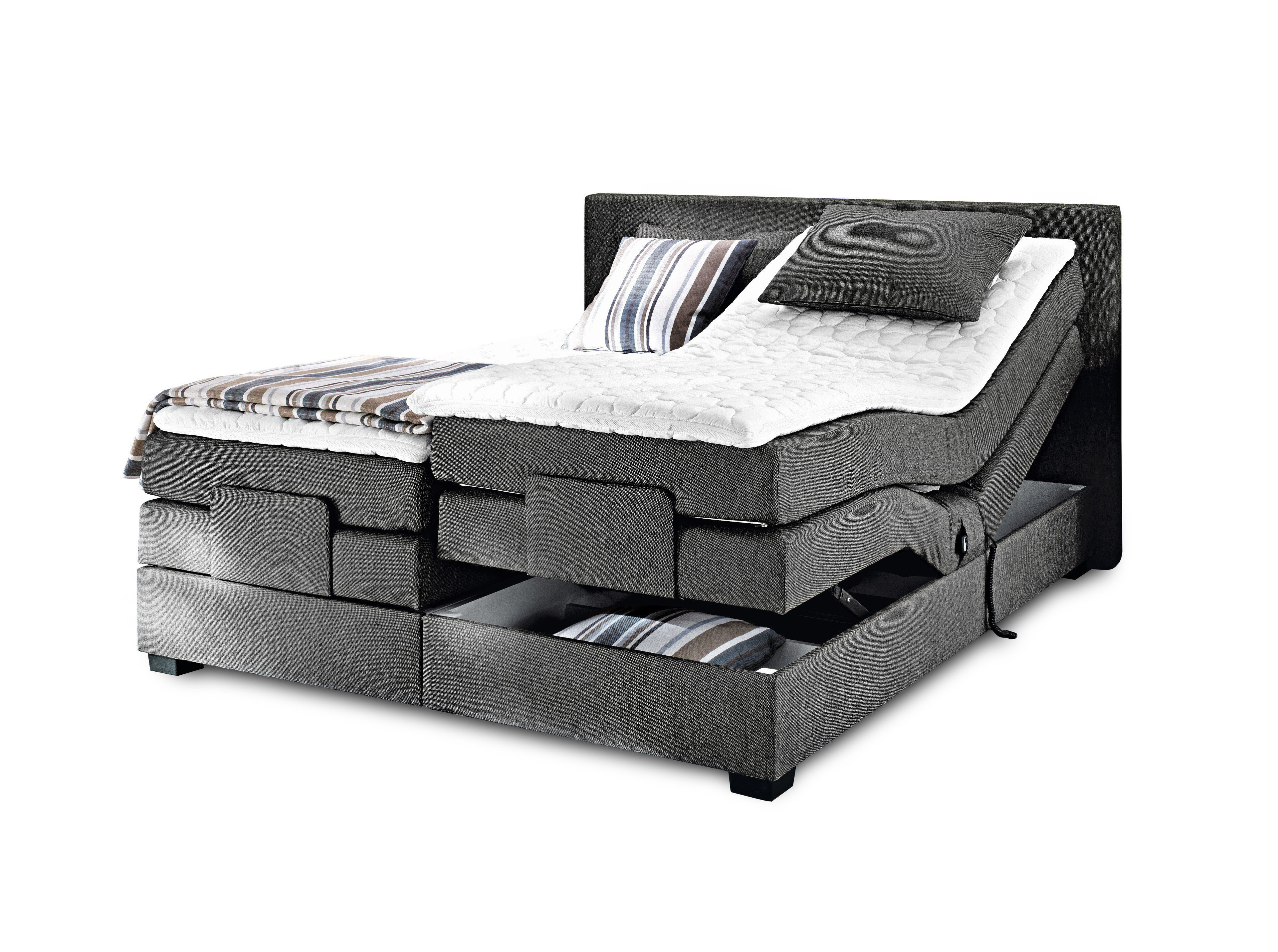 boxspringbett mit motor filou von oschmann in grau m bel letz ihr online shop. Black Bedroom Furniture Sets. Home Design Ideas