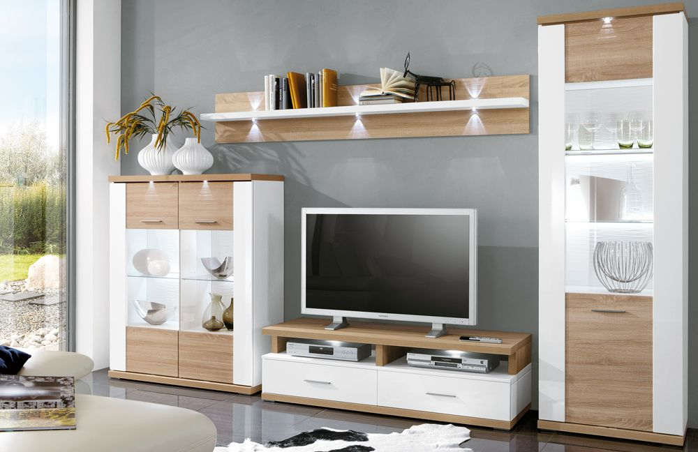 ideal m bel wohnwand manhattan 1b wei eiche m bel letz ihr online shop. Black Bedroom Furniture Sets. Home Design Ideas