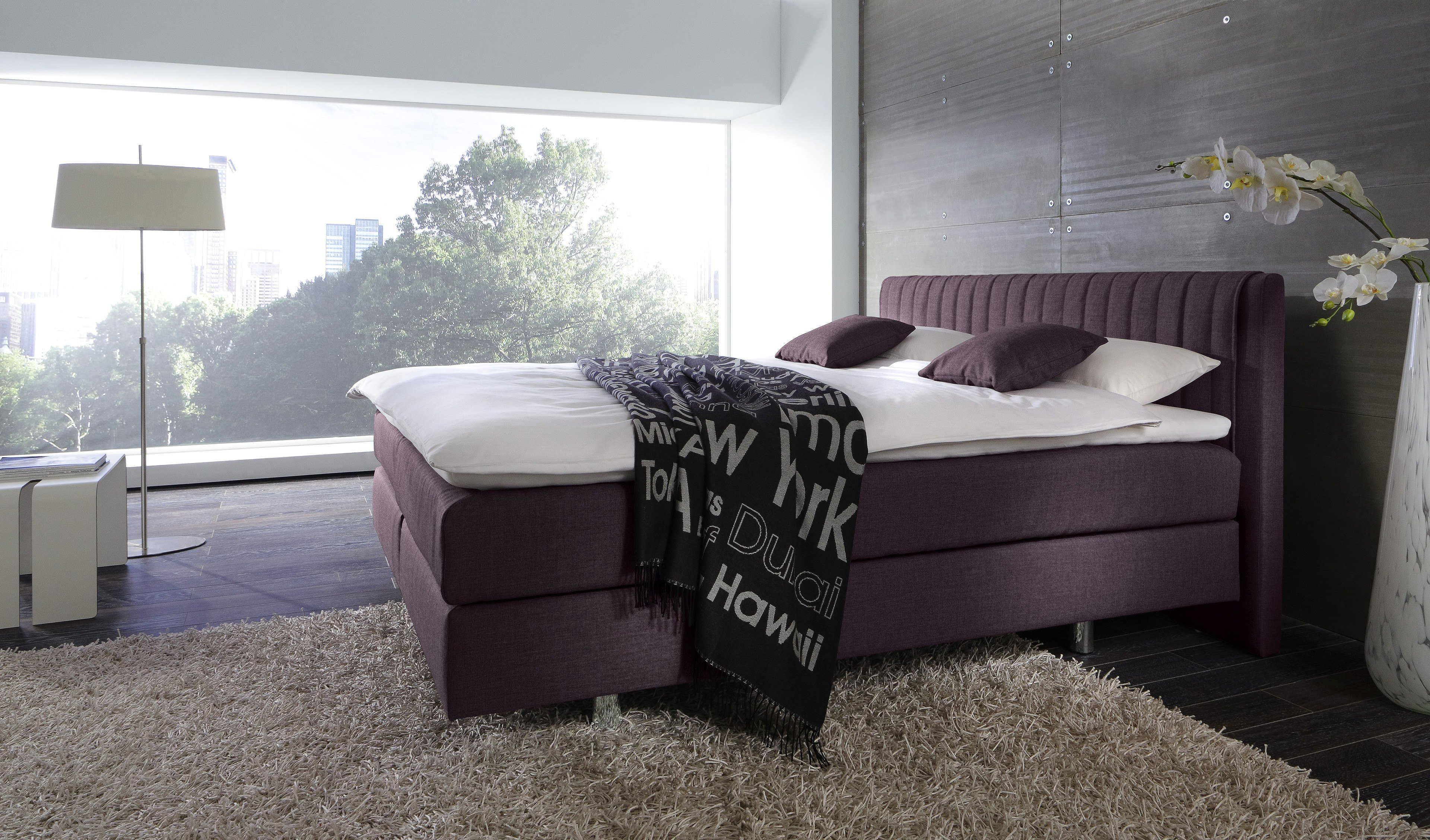 femira couture boxspringbett in aubergine m bel letz ihr online shop. Black Bedroom Furniture Sets. Home Design Ideas