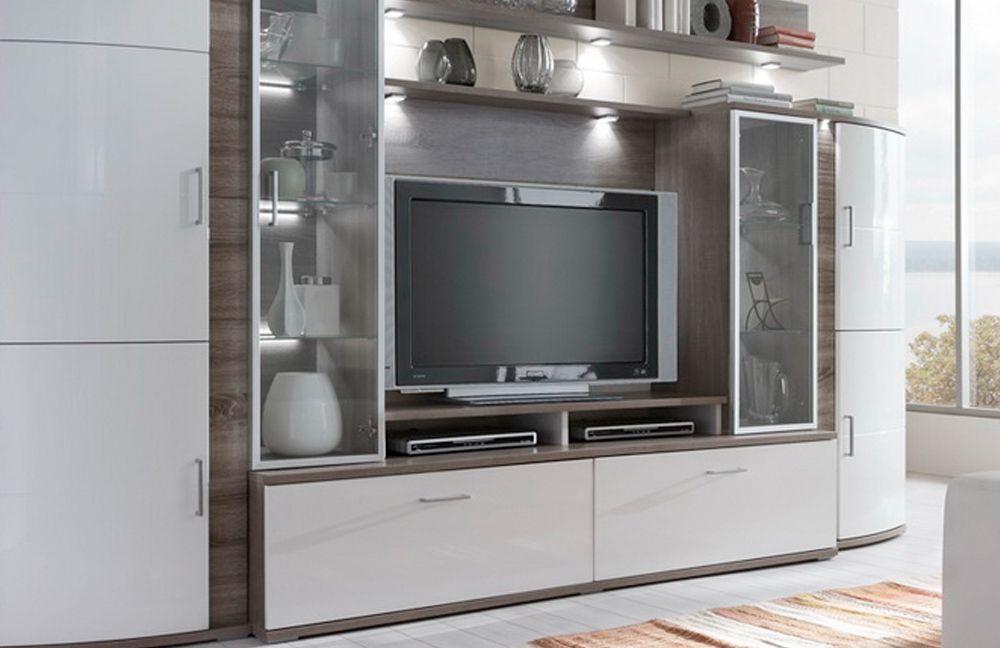 IDEAL Möbel Wohnwand Teno 100 in Eiche trüffel/ weiß