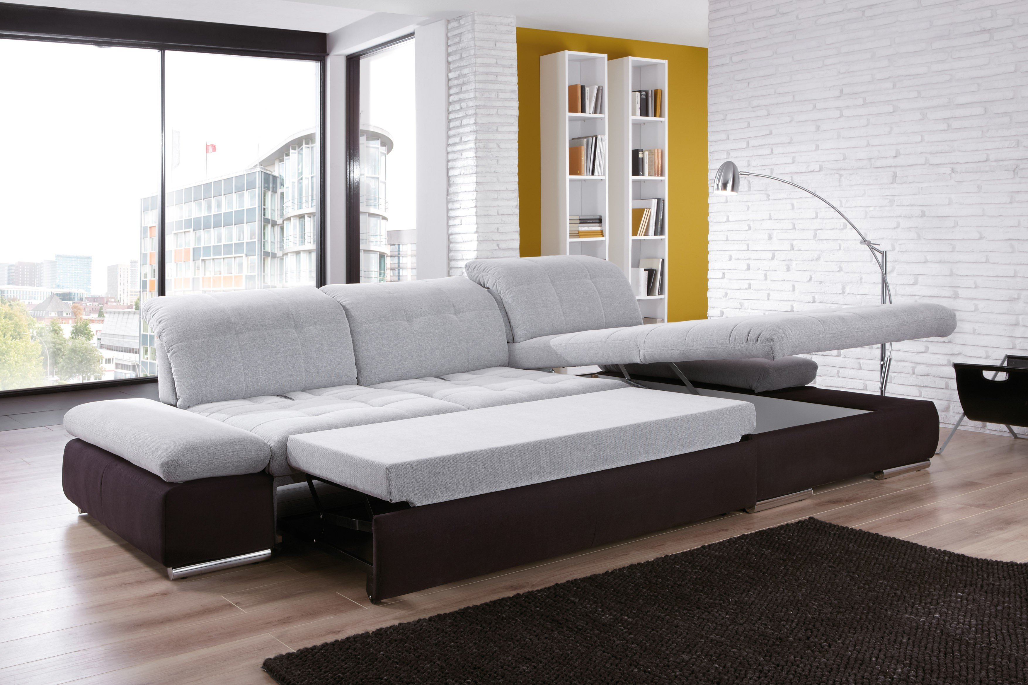 ecksofa santa fe von poco in hellgrau schwarz m bel letz ihr online shop. Black Bedroom Furniture Sets. Home Design Ideas