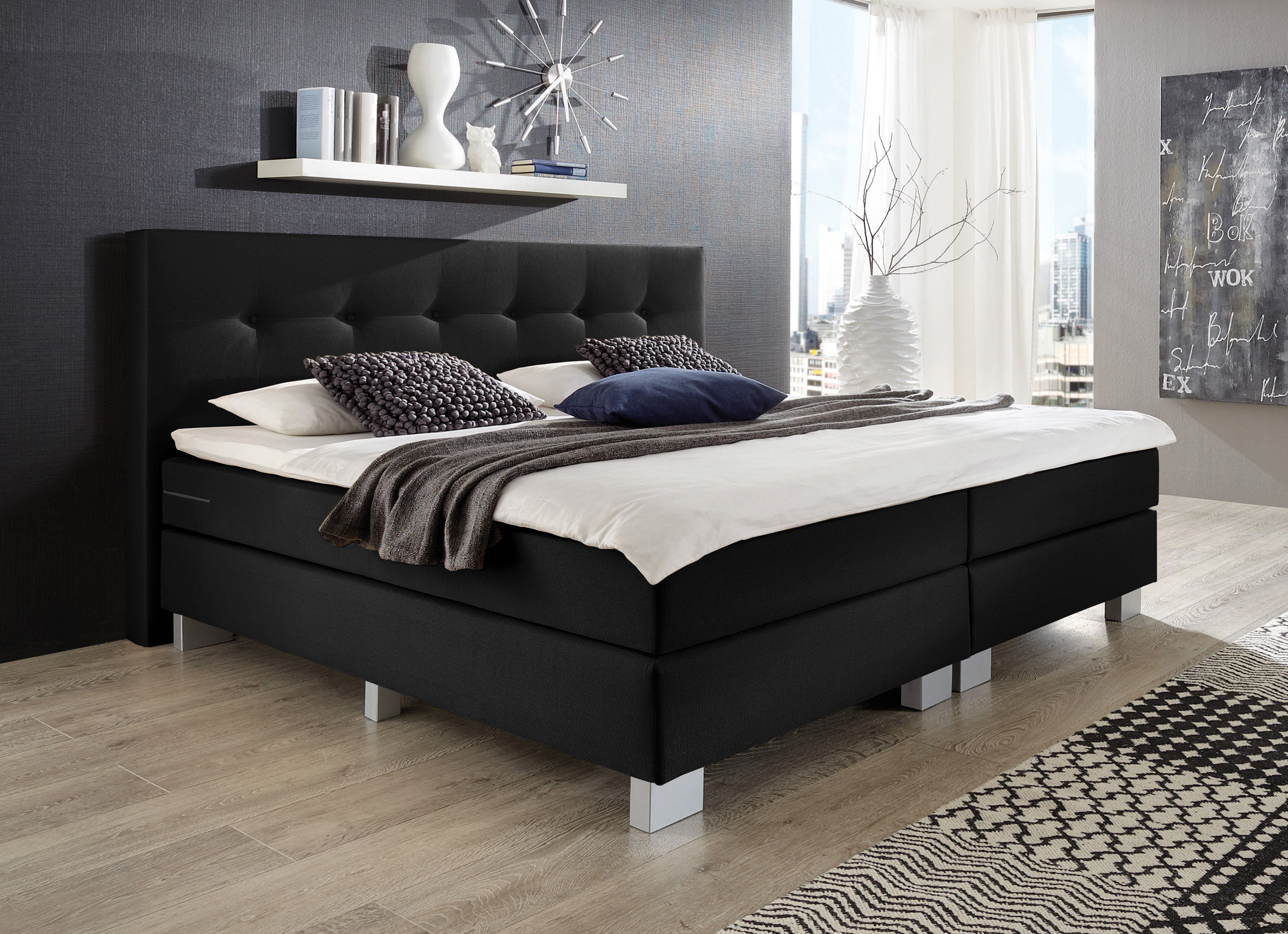 napco boxspringbett schwarz modell allround m bel letz. Black Bedroom Furniture Sets. Home Design Ideas