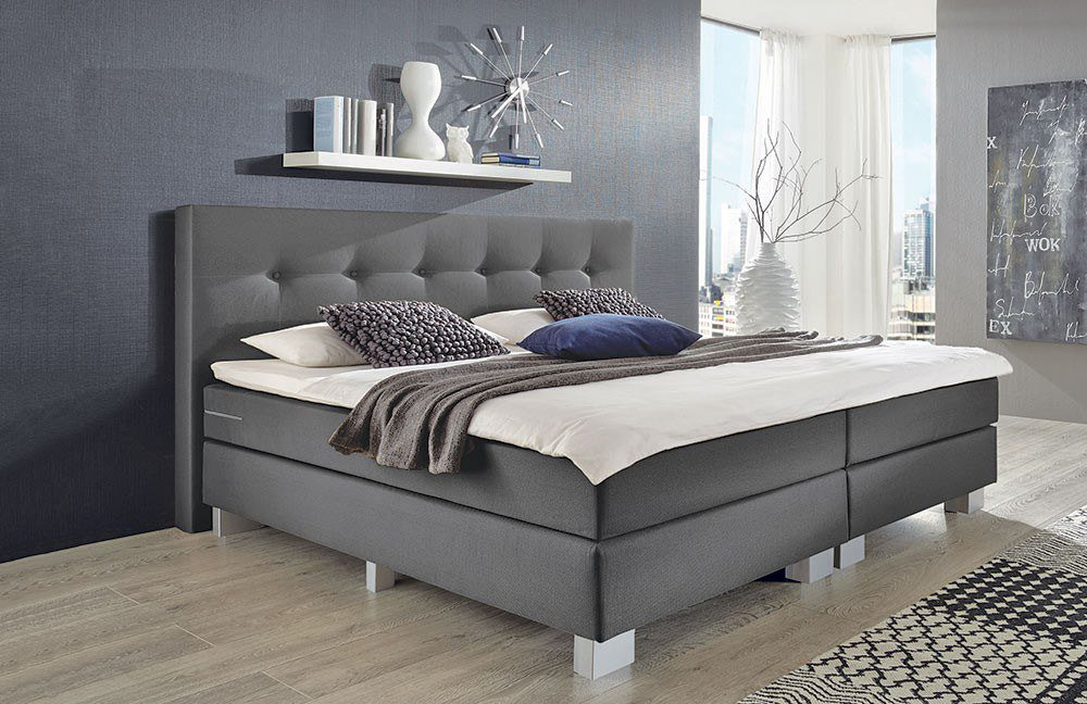 napco boxspringbett modell allround in grau m bel letz. Black Bedroom Furniture Sets. Home Design Ideas