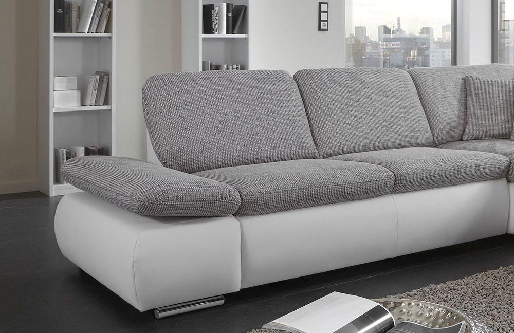 eckcouch grau wei. Black Bedroom Furniture Sets. Home Design Ideas