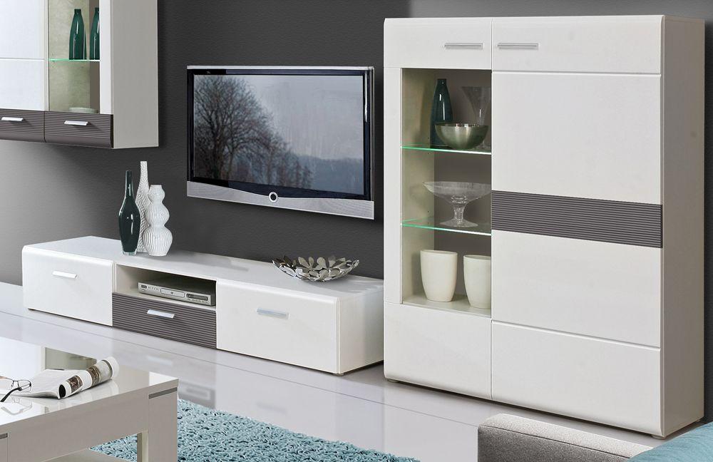 Wohnwand Ottawa weiß grau von Forte  Möbel Letz  Ihr