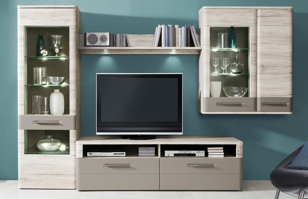 wohnwand riva sandeiche basalt von forte m bel letz ihr online shop. Black Bedroom Furniture Sets. Home Design Ideas