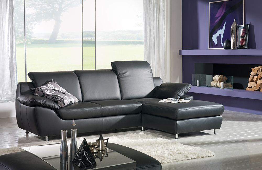 ponsel ice ledersofa schwarz m bel letz ihr online shop. Black Bedroom Furniture Sets. Home Design Ideas