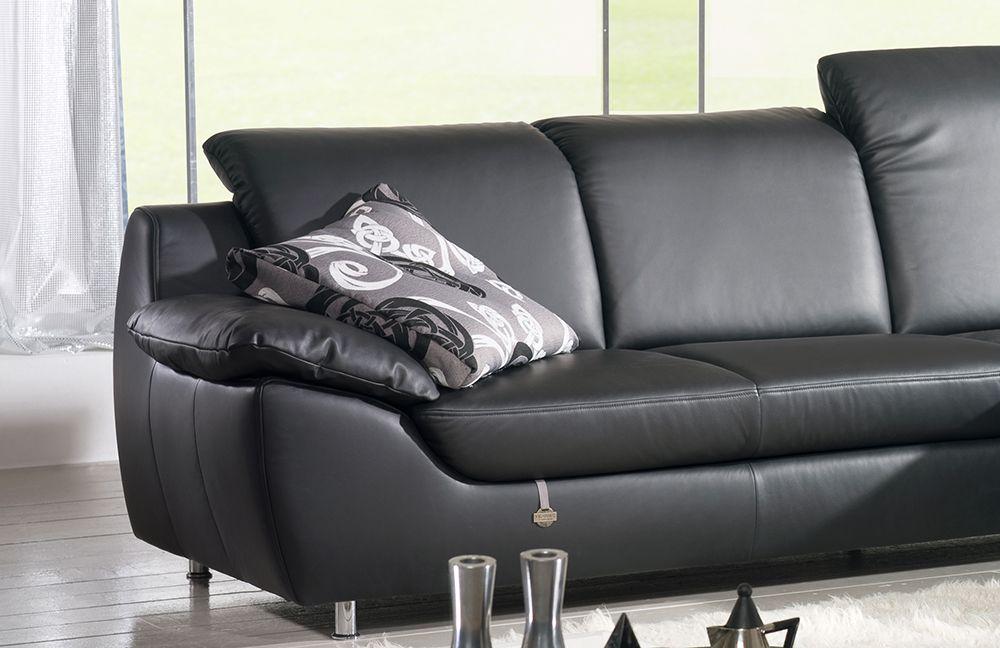 ledersofa schwarz. Black Bedroom Furniture Sets. Home Design Ideas