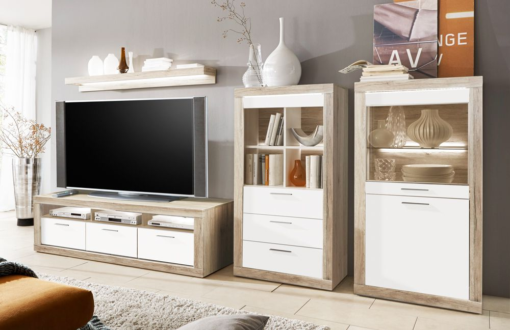 wohnwand aruba 135 eiche san remo sand wei von ideal m bel m bel letz ihr online shop. Black Bedroom Furniture Sets. Home Design Ideas