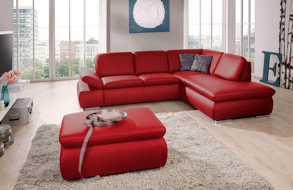 ledersofa laventura in rot von poco m bel letz ihr online shop. Black Bedroom Furniture Sets. Home Design Ideas