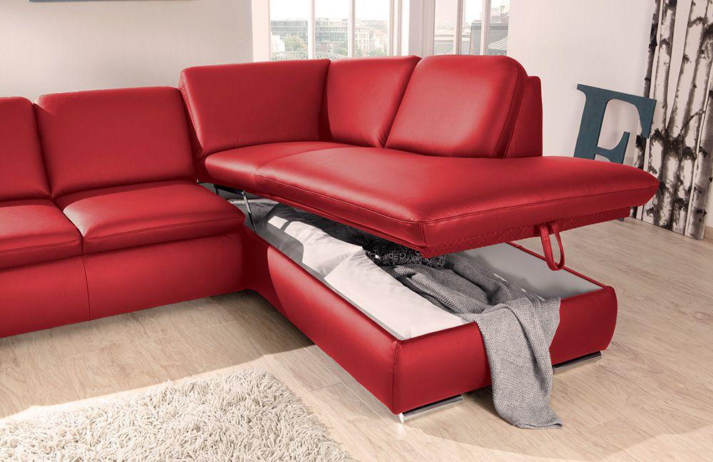 vigo von poco ledersofa feuerrot polsterm bel g nstig. Black Bedroom Furniture Sets. Home Design Ideas