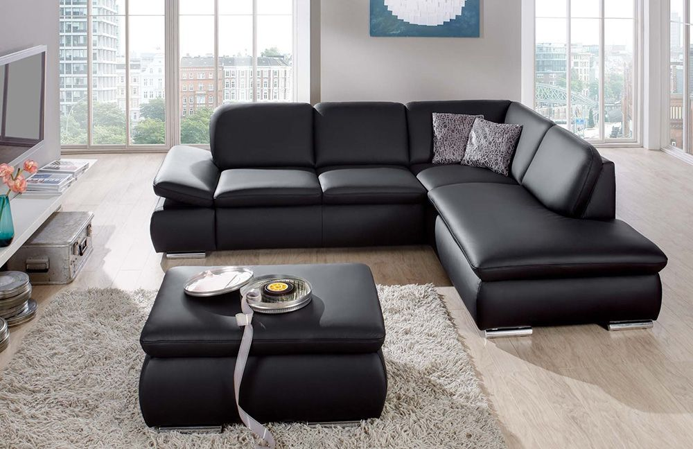 moderne ledersofa good modernes sofa mit riesiger rundecke und passendem hocker stoff bezogen. Black Bedroom Furniture Sets. Home Design Ideas