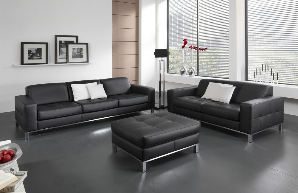 ledergarnitur perugia in schwarz von poco m bel letz ihr online shop. Black Bedroom Furniture Sets. Home Design Ideas