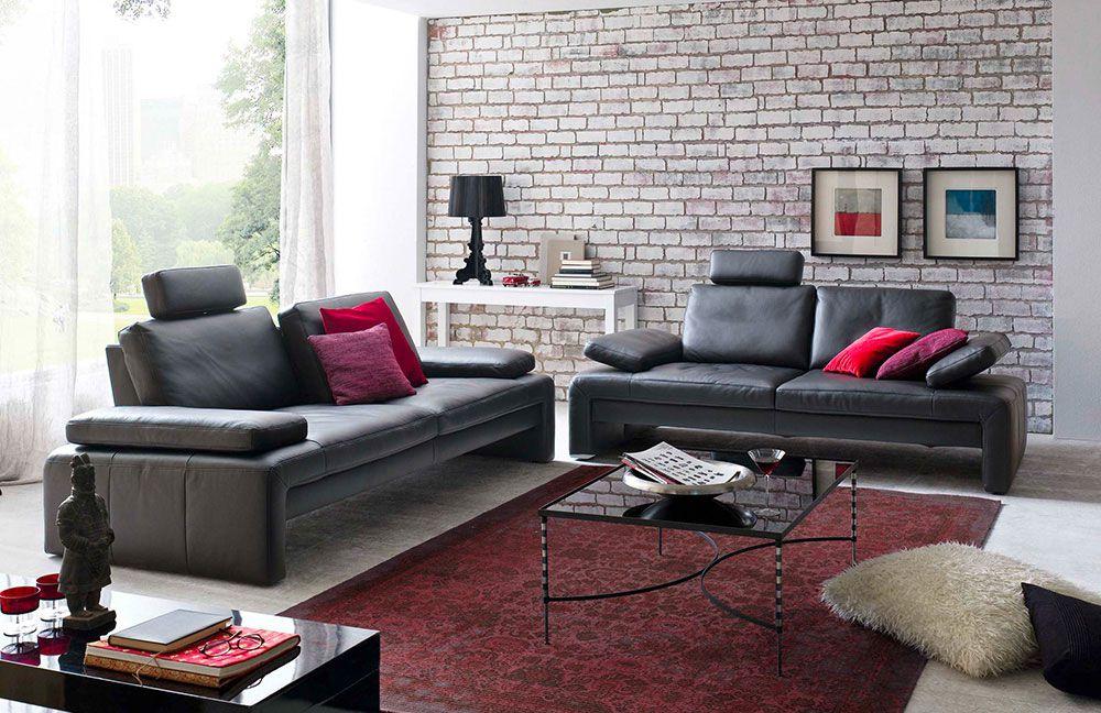 K+W Focus 7084 Ledersofa schwarz | Möbel Letz - Ihr Online-Shop