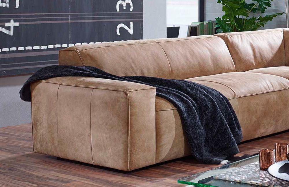 ledersofa 7047 gonzo beige von k w polsterm bel m bel. Black Bedroom Furniture Sets. Home Design Ideas