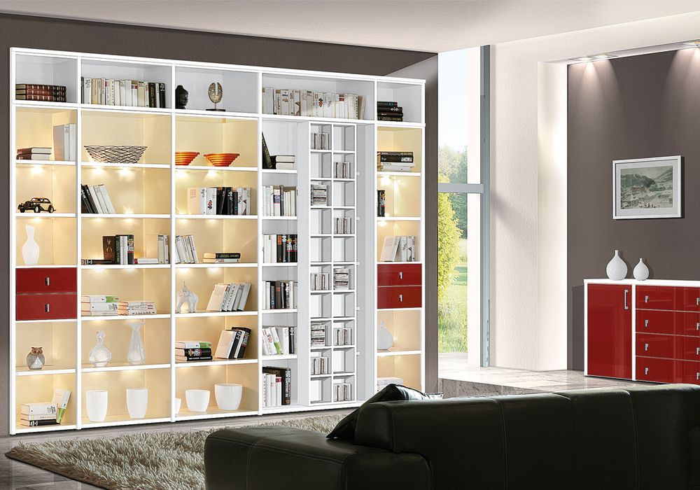 wehrsdorfer wohnwand studio ph 502 wei rot m bel letz ihr online shop. Black Bedroom Furniture Sets. Home Design Ideas