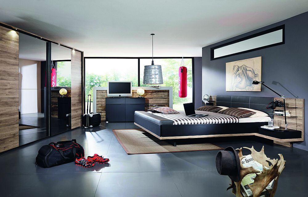 rauch vadora schlafzimmer matt schwarz sanremo eiche. Black Bedroom Furniture Sets. Home Design Ideas