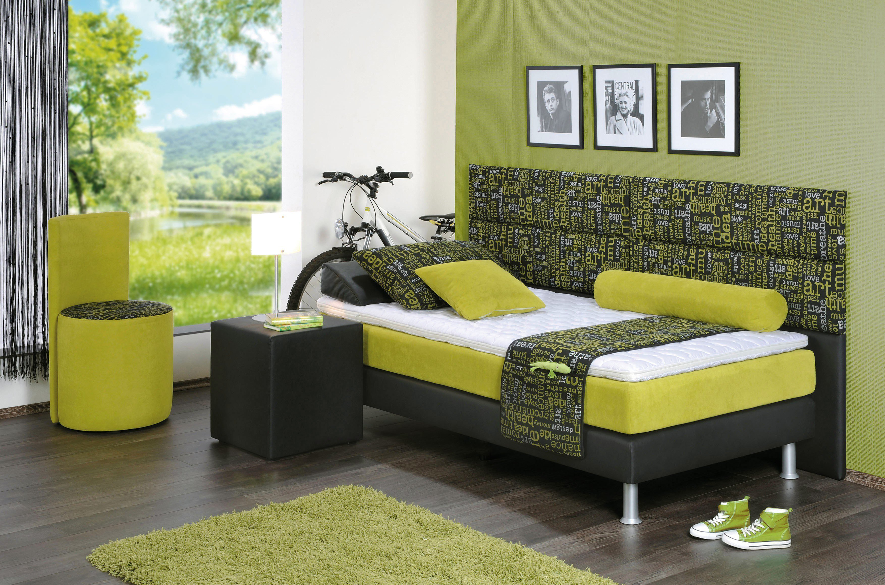 boxspringbett youngster von oschmann in gr n schwarz. Black Bedroom Furniture Sets. Home Design Ideas