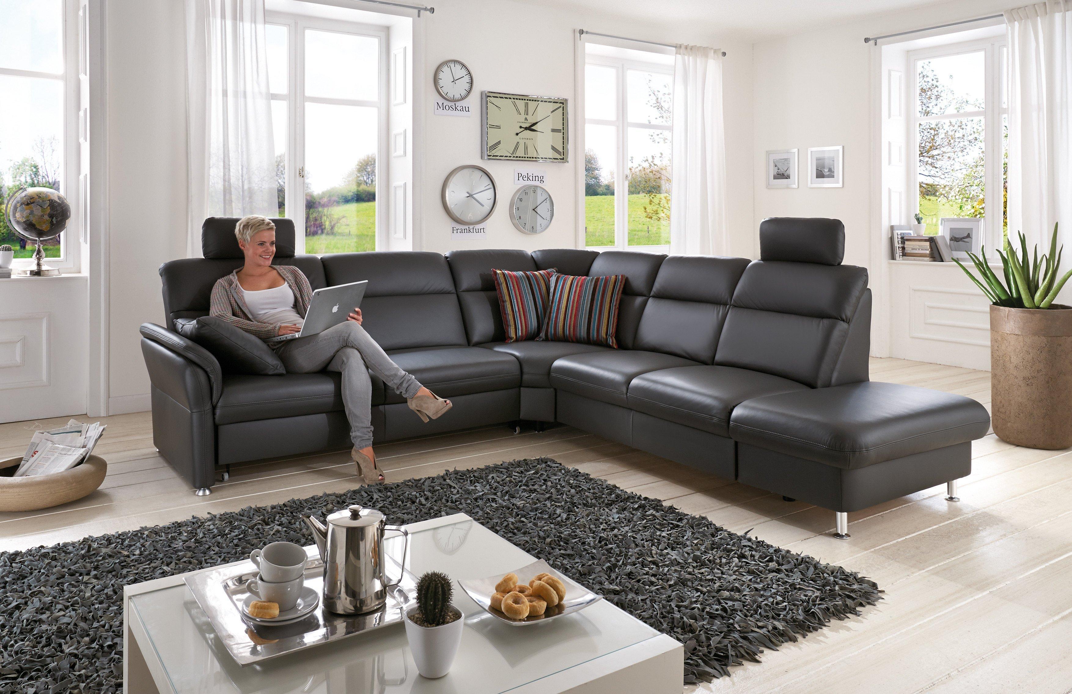 polinova naura l ledersofa anthrazit m bel letz ihr online shop. Black Bedroom Furniture Sets. Home Design Ideas