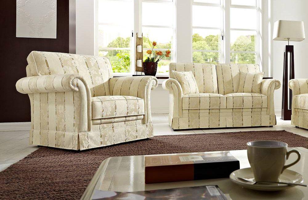 Schröno Imperial Sofa-Gespann beige-gemustert | Möbel Letz - Ihr ...