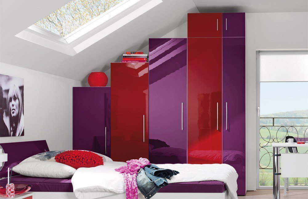 wellem bel jugendwunder jugendzimmer set lila rot. Black Bedroom Furniture Sets. Home Design Ideas