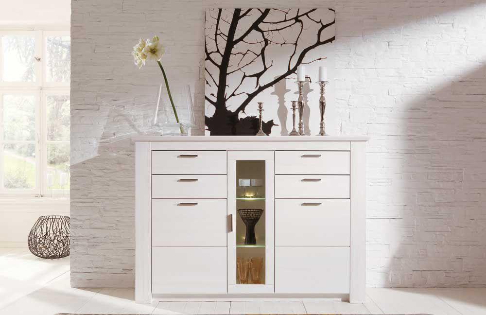 wohnwand country 1163 955 56 polarpinie wei lackiert von inter furn m bel letz ihr online shop. Black Bedroom Furniture Sets. Home Design Ideas