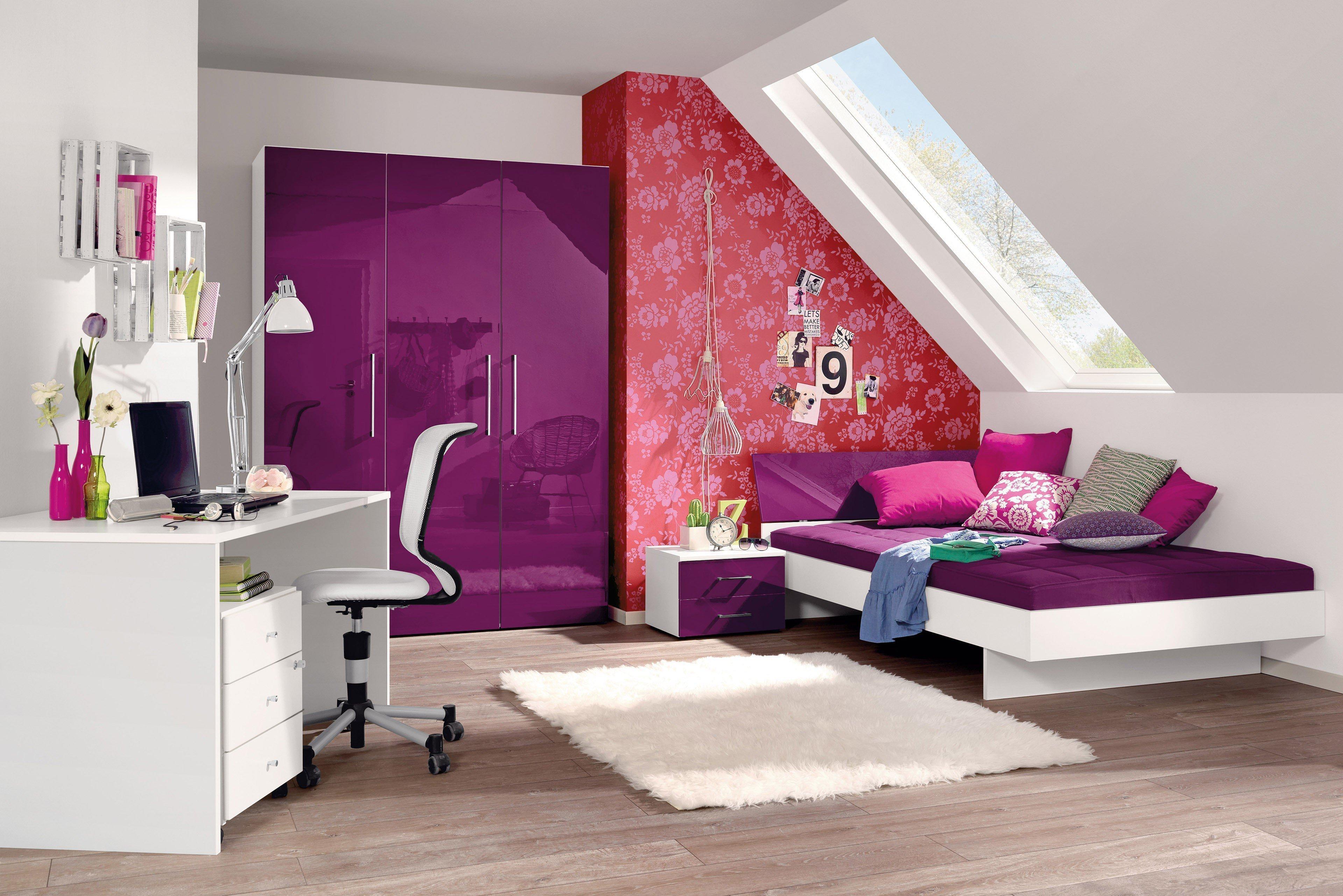 Jugendzimmer komplett weiß hochglanz  Wellemöbel Jugendwunder Hochglanz lila | Möbel Letz - Ihr Online-Shop