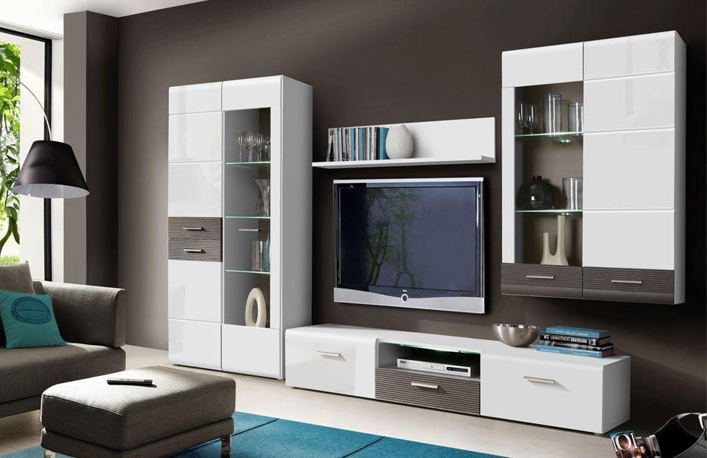 Wohnwand Odessa weiß/ grau von Forte  Möbel Letz - Ihr ...