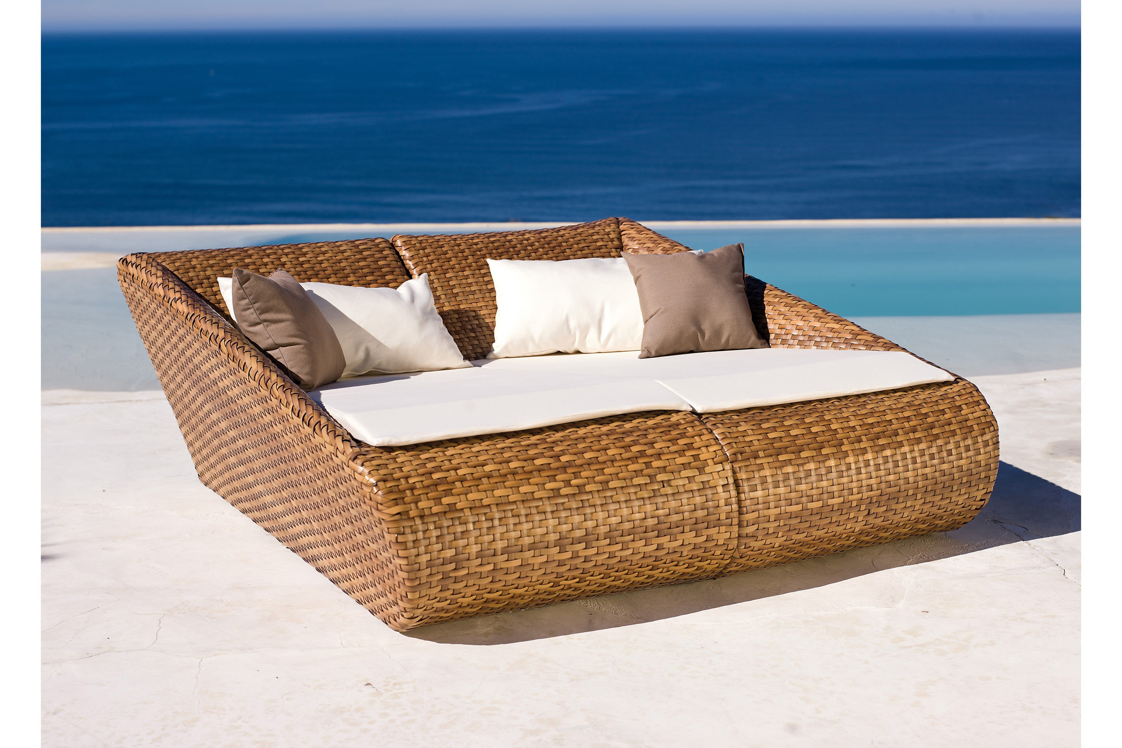 mbm living doppelliege relax lounge geflecht tobacco. Black Bedroom Furniture Sets. Home Design Ideas
