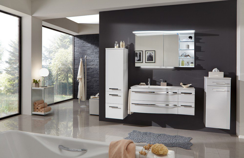 badezimmer 3160 wei glanz von marlin m bel letz ihr online shop. Black Bedroom Furniture Sets. Home Design Ideas