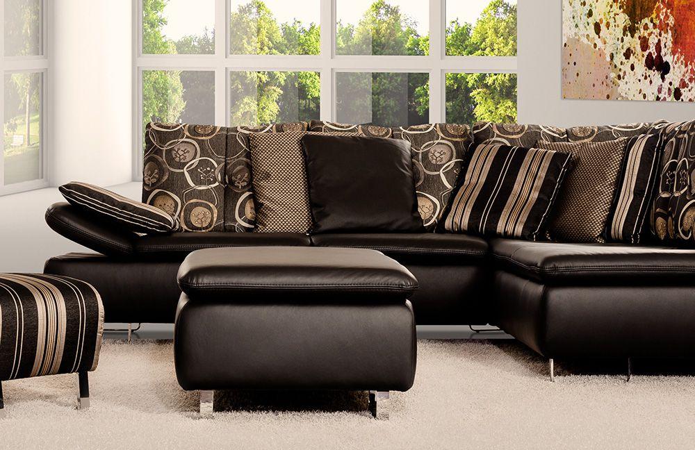 pm oelsa avus ecksofa schwarz und gemustert m bel letz. Black Bedroom Furniture Sets. Home Design Ideas