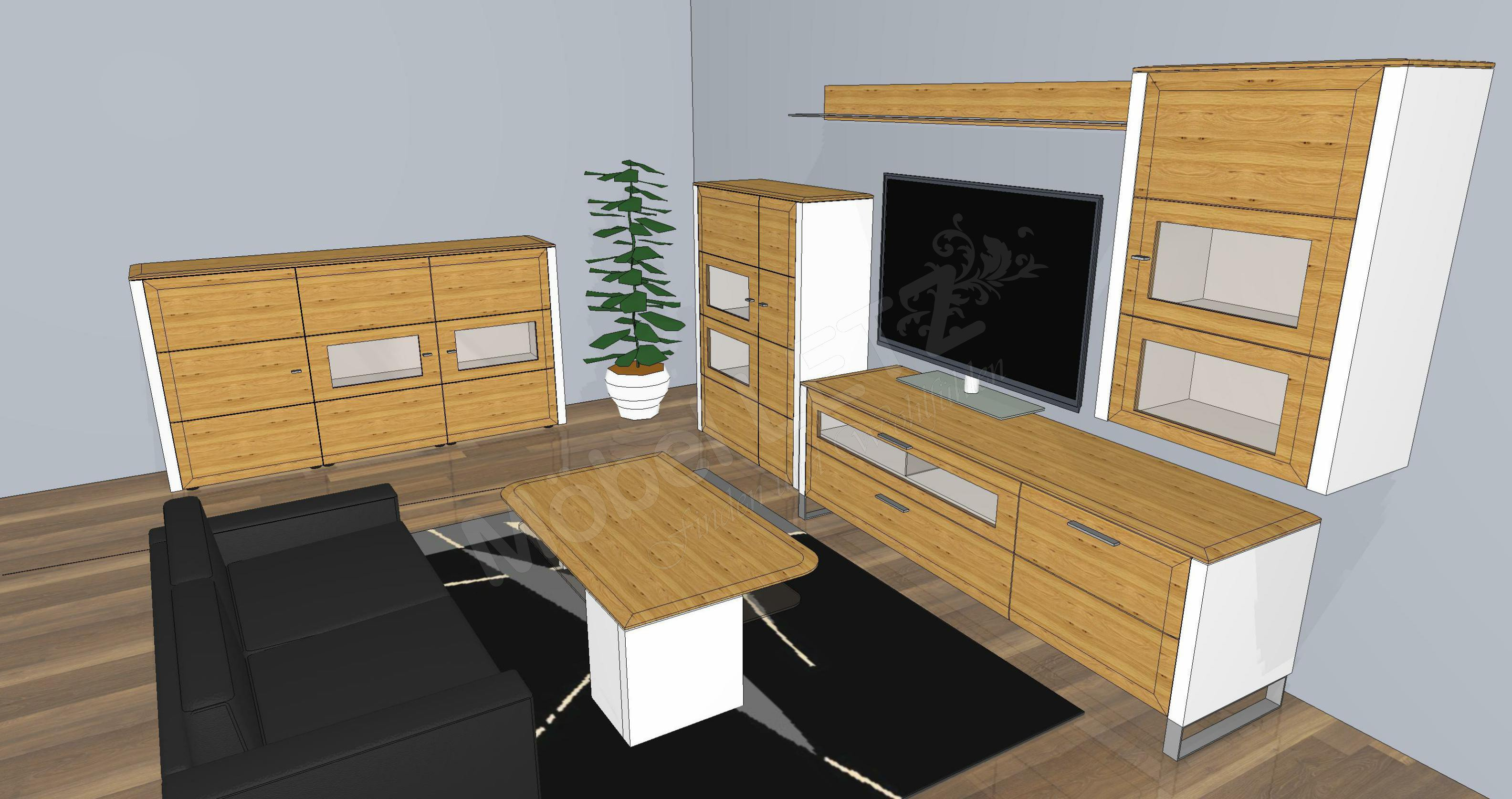 gwinner wohnwand solid gorden sl5 wei asteiche m bel. Black Bedroom Furniture Sets. Home Design Ideas