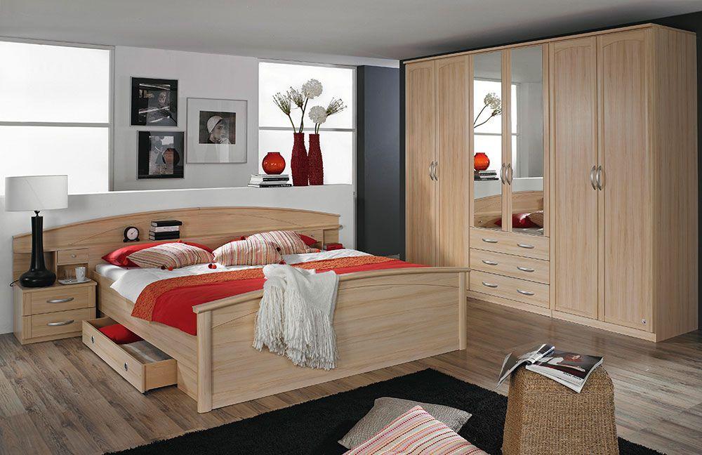 Slaapkamer Catania : Schlafzimmer Catania von Rauch Packs Buche Natur ...