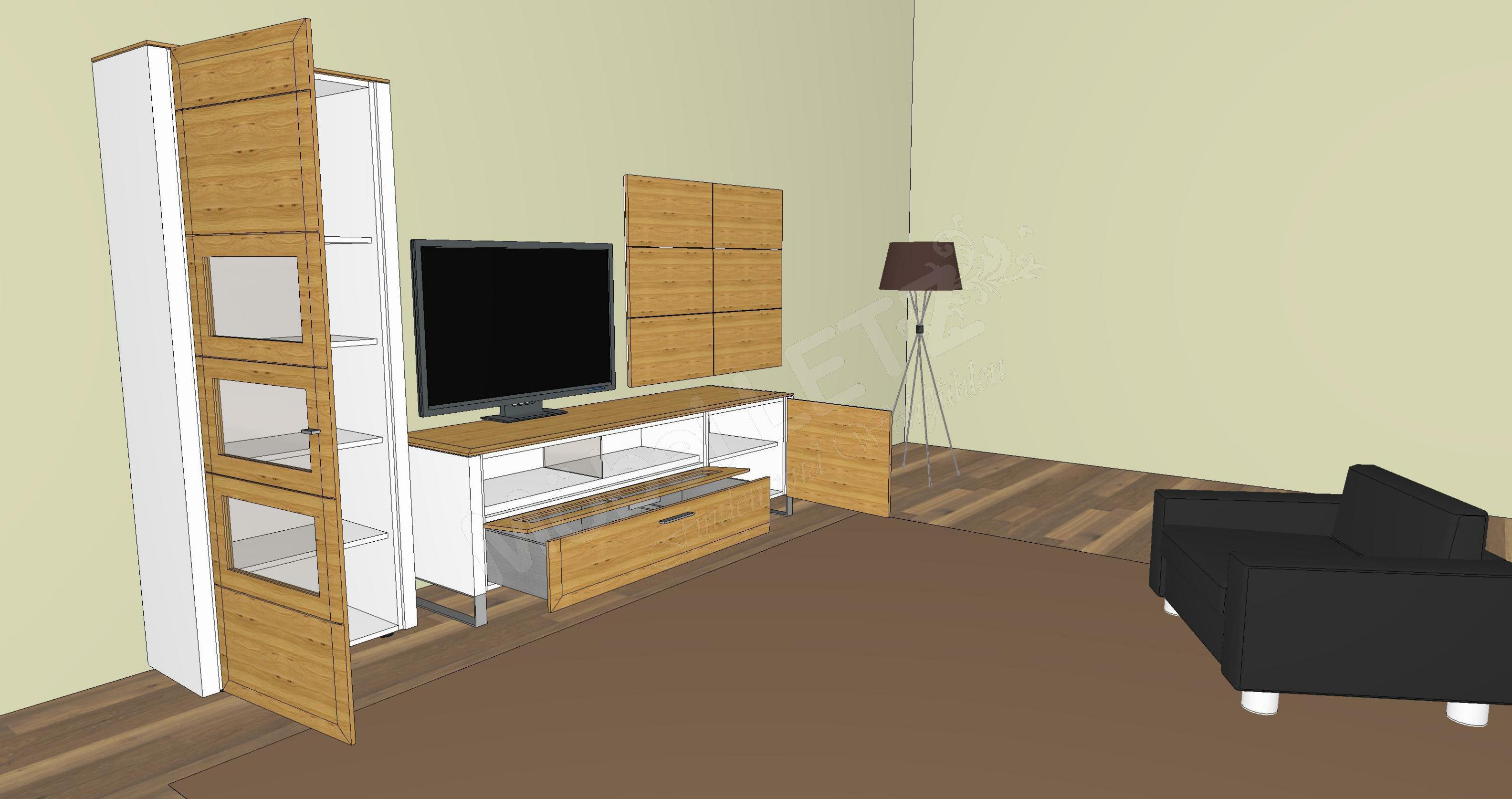 gwinner wohndesign wohnwand solid gorden sl7 wei asteiche m bel letz ihr online shop. Black Bedroom Furniture Sets. Home Design Ideas