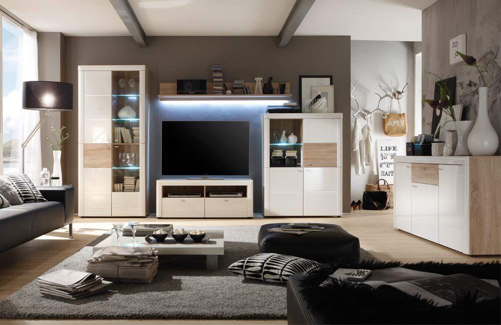 mca furniture wohnwand pesaro i wei sonoma eiche m bel. Black Bedroom Furniture Sets. Home Design Ideas