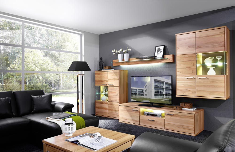 schr der m bel wohnwand natura v1 kernbuche m bel letz ihr online shop. Black Bedroom Furniture Sets. Home Design Ideas