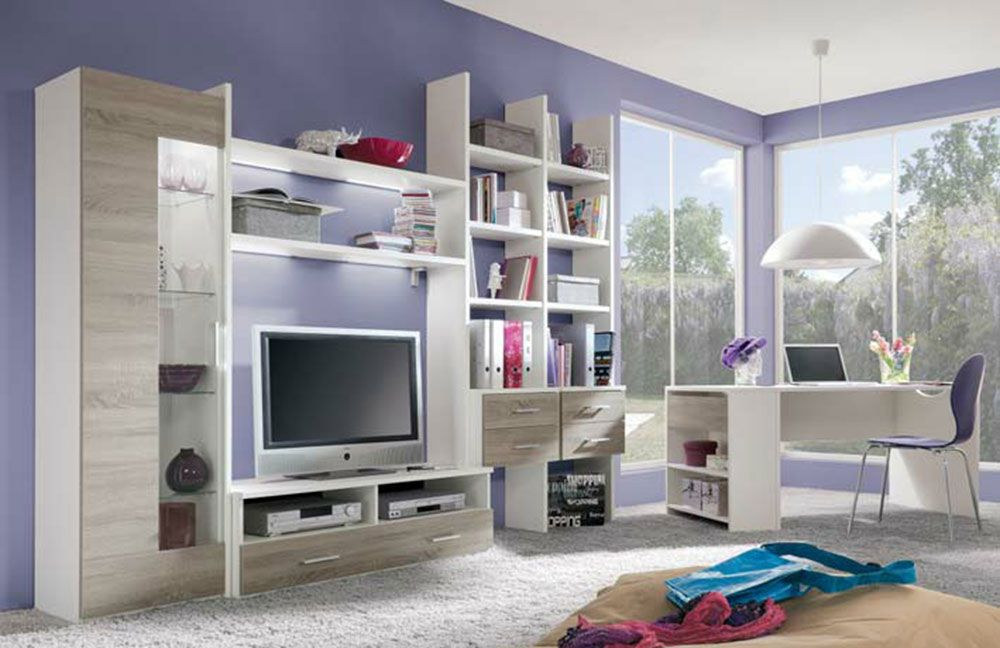 r hr bush wohnwand wei dakota eiche m bel. Black Bedroom Furniture Sets. Home Design Ideas