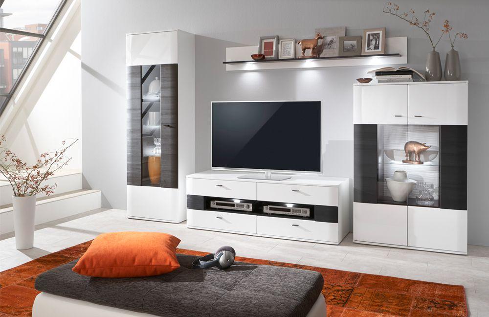 Uberlegen Dallas Von IDEAL Möbel   Wohnwand 03 Weiß/ Schwarz