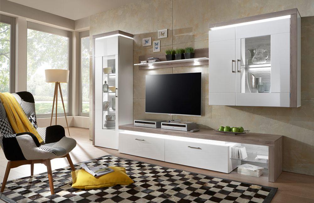 Bruno Von IDEAL Möbel   Wohnwand 17 Weiß/ Nelson Nordic