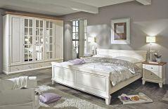 Georgia Von LMiE   Schlafzimmer Massivholz Weiß, Absetzung Braun