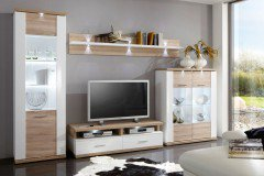 Manhattan Von IDEAL Möbel   Wohnwand 101B Eiche Sägerau/ Weiß