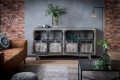 Tess von Zijlstra - Sideboard aus Mangoholz/ Stahl/ Glas