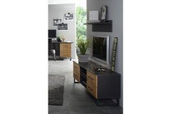 Butte von Rauch Orange - TV-Element grau-metallic - Eiche